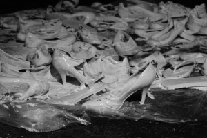 floor of a thousand lost shoes. Installation shot May 09